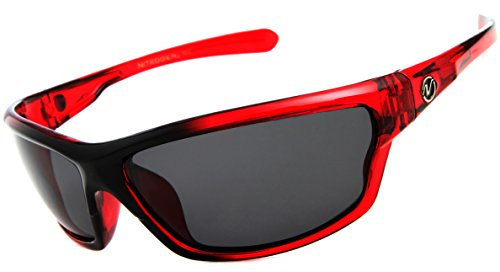 Nitrogen Men's Rectangular Sports Wrap 65mm Red Polarized - Sunglasses Polarized Sports