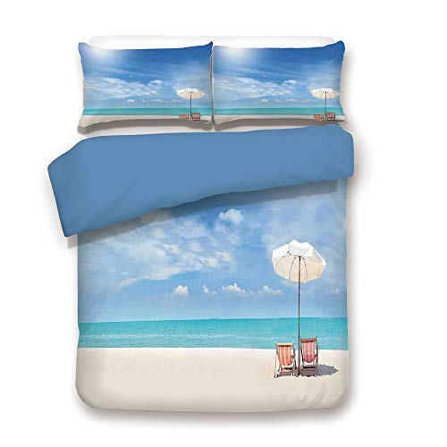 iPrint Duvet Cover Set,Blue Back,Hawaiian,Secluded Tropical Island Beach with Chairs and Umbrella Ocean Sand Seascape Photo,Blue Beige,Decorative 3 Pcs Bedding Set by 2 Pillow Shams,Full Size