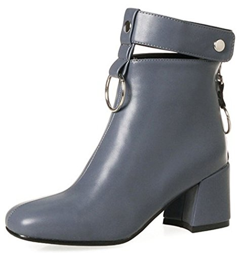 Heel With Square Women's Zipper Boots Back Short Toe Retro Grey Block Mid Easemax Ankle High pBYqfAP