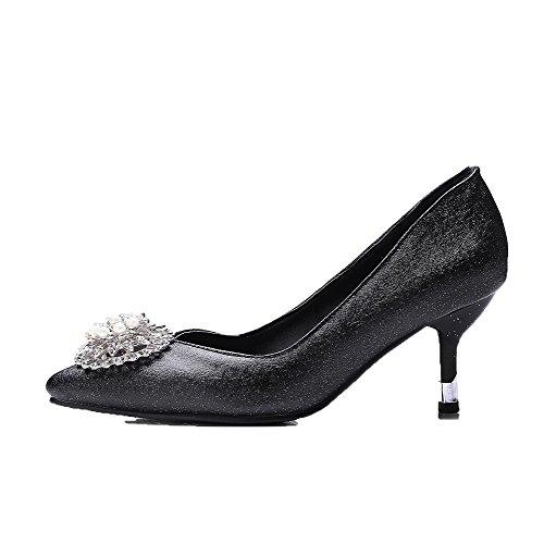 Tire Pointu Noir Talon Cuir à PU Femme Chaussures Correct AgooLar Légeres aHW4ZZ