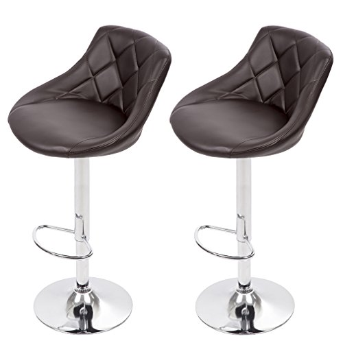 BestMassage Bar Stool Adjustable Height Leather Bar Stools with Seat Back Pad ()