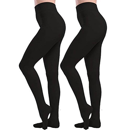 Tulucky Womens Socks Hosiery Control Top Tights Velvet Lined Pantyhose Footed Legging Pants (One Size, Black 2 Pack)