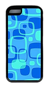 iPhone 5c Cases - Cheap And Beautiful Summer TPU Black Cases Personalized Design Blue Rectangle Grid