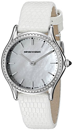 Emporio Armani Swiss Made Women's Swiss Quartz Stainless Steel and White Leather Dress Watch (Model: ARS7010)