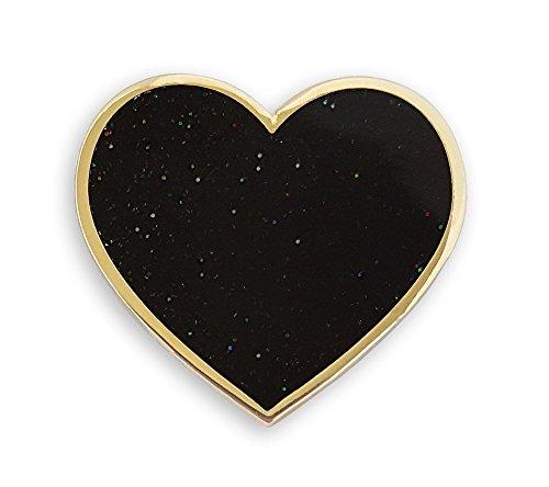 Pinsanity Black Heart Enamel Lapel - Black Enamel Heart