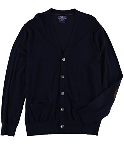 RALPH LAUREN Mens Lamb Suede Trim Cardigan Sweater Blue L