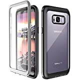 Samsung Galaxy S8 Case, 360° Protection Full-body Rugged Clear Bumper Case  Built-in Screen Protector Wireless Charging Support for Samsung Galaxy S8 (Grey/Black)