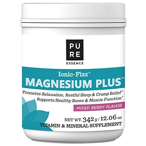 Fruit Supplement Plus - Pure Essence Labs Ionic Fizz Magnesium Plus - Calm Sleep Aid and Natural Anti Stress Supplement Powder - Mixed Berry - 12.06 oz