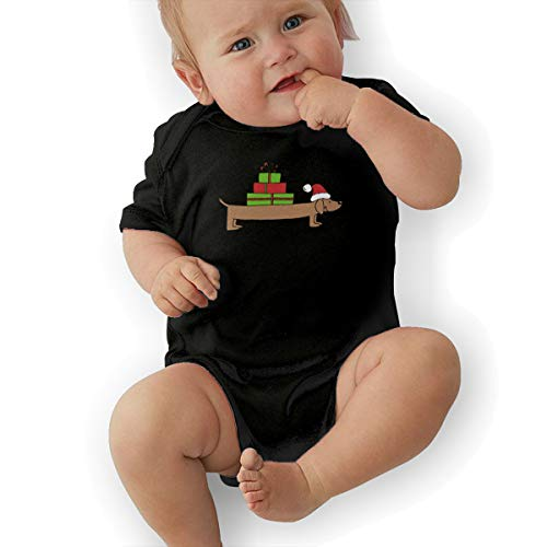 PA2PAFU Christmas Dachshund Clipart Baby Clothes Newborn Girls Short Sleeve Romper Bodysuit Rompers Black