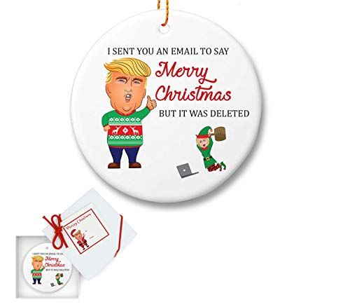 FOLE INC Trump and Hilary Ceramic Christmas Tree Ornament - Gifts for Dad Mom Men Women - Funny Ugly Sweater - Holidays Presents Keepsake Hallmark Collectible Conservative Gift Ideas 2018 -