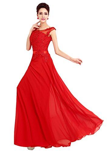 Robes De Demoiselle D'honneur Paradis Papillon Rouge À Long