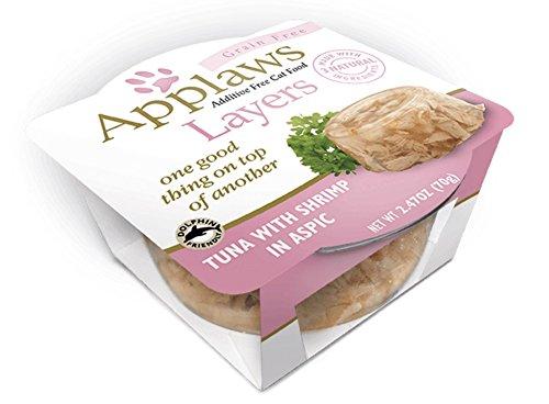 Applaws Grain Free Layers Natural Cat Food, Tuna with Shrimp, 12 Individual Tubs
