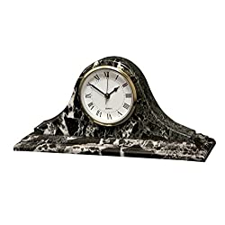 Designs by Marble Crafters Black Zebra Marble Mantel Clock