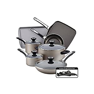 Farberware High Performance Nonstick Cookware Pots and Pans Set Dishwasher Safe, 17 Piece, Aqua