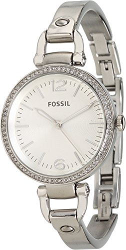 Fossil White Silver Dial (Fossil Women's ES3225 Georgia Glitz Silver-Tone Stainless Steel Watch with Stainless Steel Bracelet)