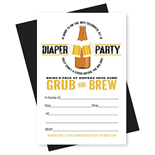 Man's Baby Shower Invitations Diapers for Beer Party (15 Pack) - Man Stationery