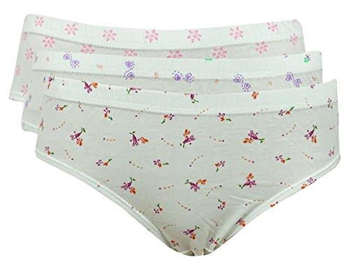 Body Mist Paquete de 3 impresión de algodón floral de la ropa interior de Panty Breve para el cuerpo de la mujer Blanco (Desgin # 1)