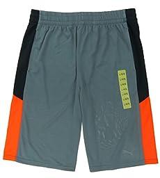 PUMA Youth Boys Lifestyle Athletic Short (X-Large 18/20, Smoke Grey / Orange)