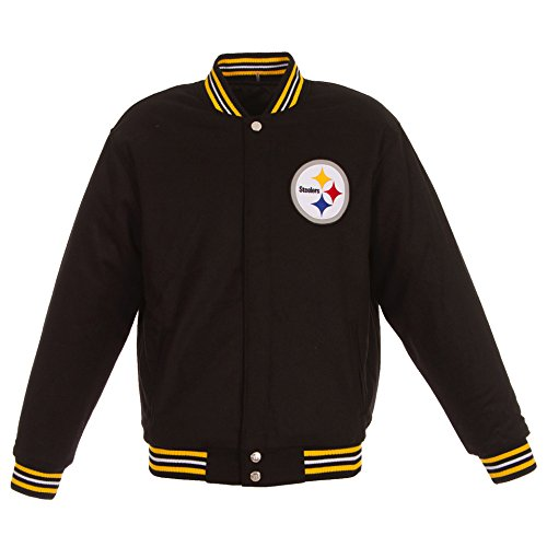 JH Design NFL Reversible Black Wool Varsity Jacket (Pittsburgh Steelers, Medium)
