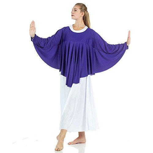 Danzcue Womens Angel Wing Drapey Pullover Dance Top, Deep Purple, L/XL
