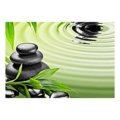 Rocks Over Bamboo Branches on a Lake - Wall Mural, Removable Sticker, Home Decor - 100x144 inches
