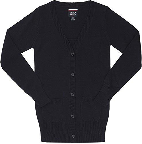 French Toast School Uniform Girls V-neck Cardigan With Patch Pockets, Navy, Small (6/6X)