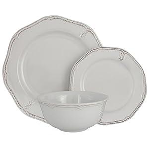 Melange Stoneware 18-Piece Dinnerware Set (Antique White) | Service for 6| Microwave, Dishwasher & Oven Safe | Dinner Plate, Salad Plate & Soup Bowl (6 Each)