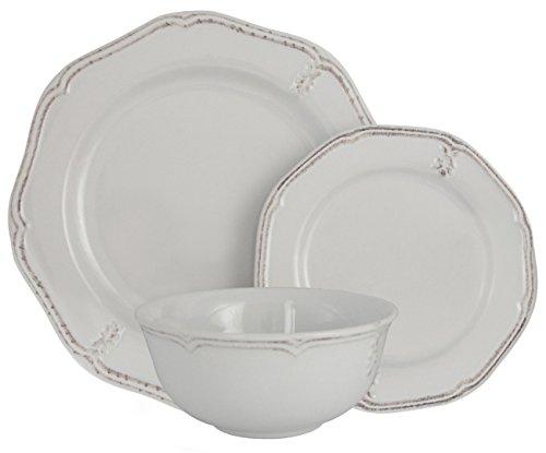 Melange Stoneware 18-Piece Dinnerware Set (Antique White) | Service for 6| Microwave, Dishwasher & Oven Safe | Dinner Plate, Salad Plate & Soup Bowl (6 (Antique White Dinner Plate)