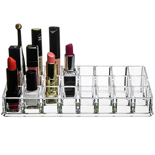 Yi-Yi Acrylic Makeup Lipstick Lipgloss Organizer - Multi Level 24 Slot Clear Plastic Make up Organizers for Brushes Lip Gloss nailpolish Perfume Mascara Great Vanity Tray Storage!