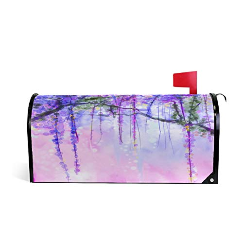 WOOR Watercolor Blurred Purple Flowers Wisteria Ivy Romantic Floral Nature Magnetic Mailbox Cover Standard Size-18