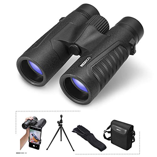 REDBOO Binoculars 12×42 BAK4 Prism FMC Lens Best for Adults, Bird Watching, Sports Events, Concerts or Hunting Includes Phone Adapter, Tripod, Neck Strap, L Bracket, Case, and Cleaning Cloth