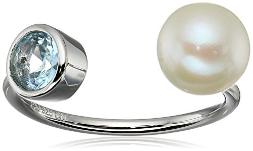 Ring Genuine Stone (Sterling Silver Genuine Blue Topaz and Freshwater Cultured Pearl Bezel Set Birthstone Open Adjustable Ring)