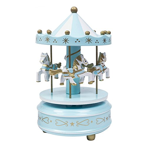 (Wooden Carousel Music Box 4 Horses Rotating Carousel Mechanical Music Box for Children/Adults (Blue))