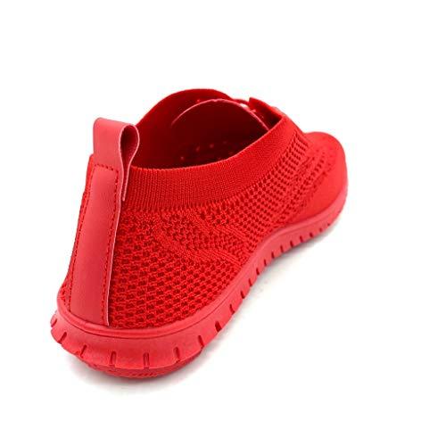 Scarpe Perforato Flessibile Rosso 2 Sneaker Angkorly Cm Tacco Piatto Donna Basic Tennis Moda Comfortable dqng4p