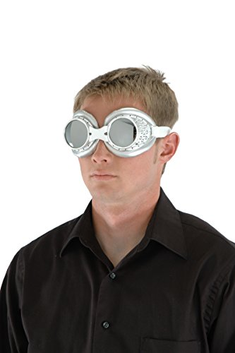 Silver and White Radioactive Aviator Goggles by - Fancy Goggles Online