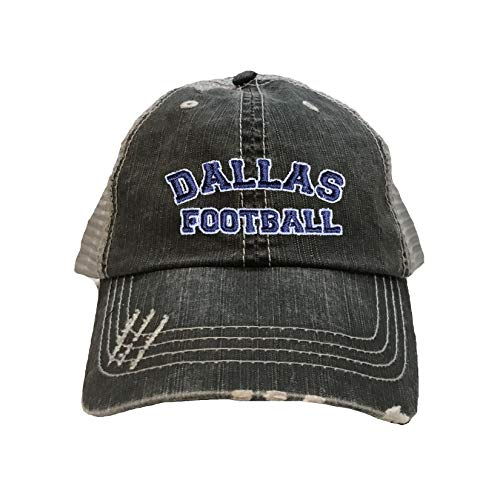 Dallas Cowboys Baseball Jersey - Go All Out One Size Black/Grey Adult Dallas Football Embroidered Distressed Trucker Cap