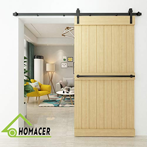 Homacer Sliding Barn Door Hardware Standard Single Door Kit, 16FT Flat Track Classic Design Roller, Black Rustic Heavy Duty Interior Exterior Use