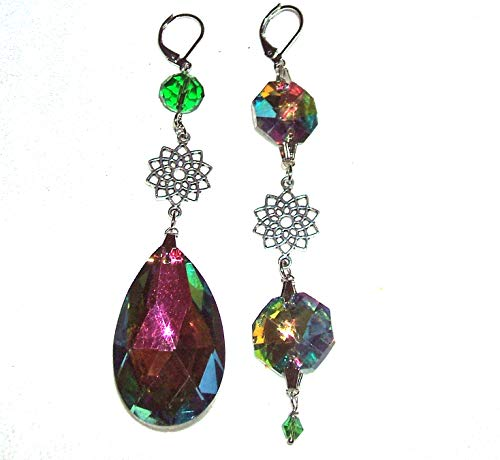 CRYSTAL RAINBOW EARRINGS Asymetrical Mismatched Silver Plt Long COLOR Changing - Duster Shoulder Crystal