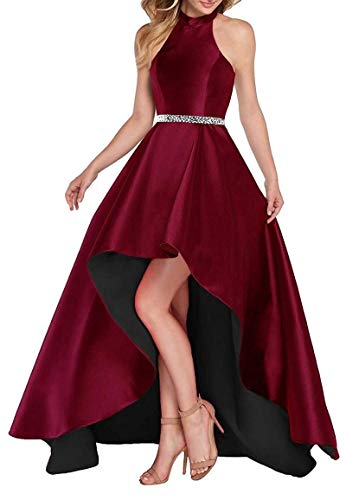 Lamosi Women Halter High Low Beaded Prom Formal Dress Long Satin Evening Homecoming Party Gown Burgundy-Black Size 2