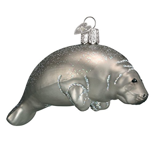 (Old World Christmas Ornaments: Manatee Glass Blown Ornaments for Christmas Tree)