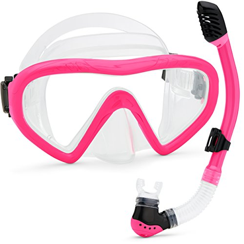 Kids Snorkel Set Underwater Mask & Snorkel Set Comfortable Double Lens Snorkeling Mask & Breathing Tube with Flexible Silicone Mouthpiece - Swimming & Diving Gear with Anti-Leak Design -