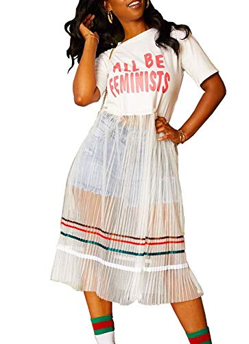 Women Rainbow Stripe Short Sleeves Graffiti Graphic Letter Print See Through Mesh Maxi Patchwork Shirt Dress