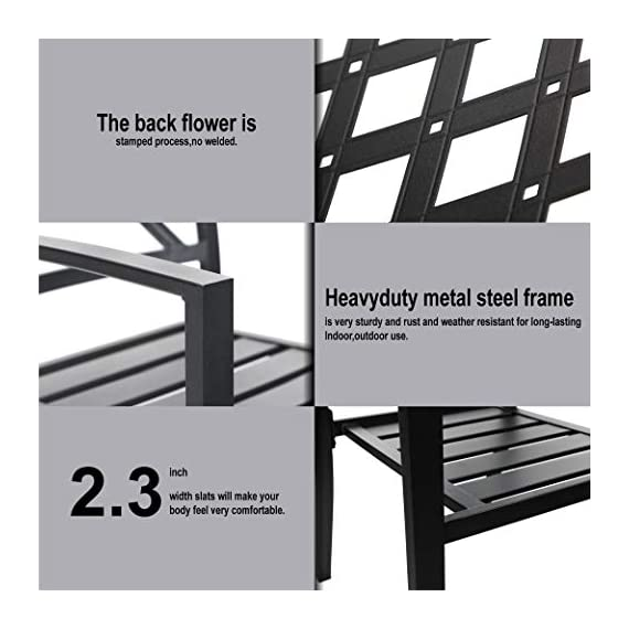 PHI VILLA Metal Outdoor Patio 60 inch Rectangular Dining Table and Chairs Set of 7- Black - Durable metal steel frame longevity with e-coating and use black high quality coating with gold spots.,rust resistant and weather resistant,bring you years of enjoymen; Stylish modern slate design with metal very sturdy, easy to assemble, and easily cleaned up with damp cloth and water; You can using the table as a buffet for the party or a delicious BBQ and family dinners, this table is designed to fit any kind of lifestyle. - patio-furniture, dining-sets-patio-funiture, patio - 41zk91BFnGL. SS570  -