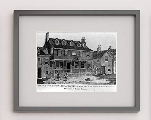 - New York Map Company  The Old Tun Tavern, Philadelphia, in which The First Lodge of Free Masons was Organized in North America|9x12 Print - Ready to Frame