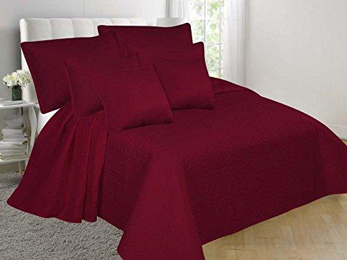 gorgeoushome BurgundyソリッドカラーReversableキルトStippling StitchesベッドスプレッドベッドDressing Shams &装飾枕で4サイズ 5PC NENA FULL/QUEEN B076B1PLXW5PC NENA FULL/QUEEN
