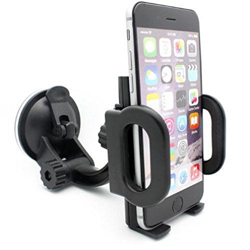 (Compatible with Moto G6 - Car Mount Windshield Holder Swivel Cradle Window Dock Strong Suction Multi Angle Rotation for Motorola Moto G6)