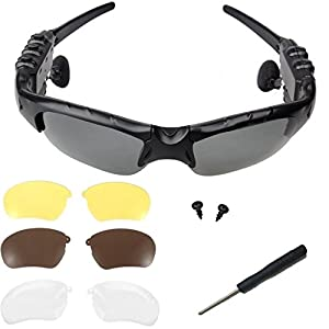 Elinka Music Wireless Bluetooth Sunglasses Headset Headphone for iPhone 5S 6 Plus 7 7Plus 8, Samsung Galaxy S3 S4 S5 S6 Note2 Note3, HTC, LG and All Smart Phones or PC Tablets+Free 3 pair lens