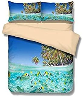 Helengili Seaside Fish 3D Bedding Set Print Duvet Cover Set Beautiful  Pattern Real Effect Lifelike Bedclothes