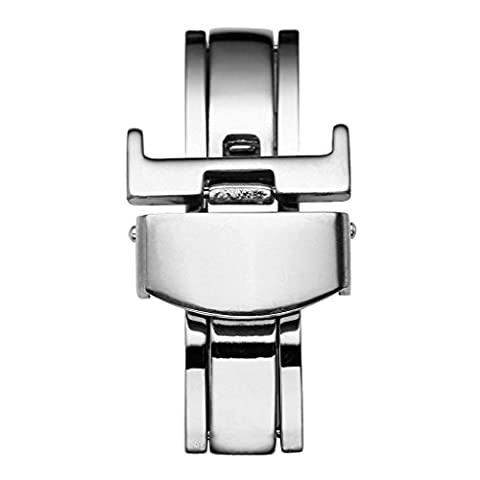 Top Plaza Stainless Steel Deployment Clasp - 18mm Silver Butterfly Deployant Buckle Double Push Spring Watchband Clasp For Leather/Metal Watch Band - Stainless Steel Butterfly Deployment Clasp