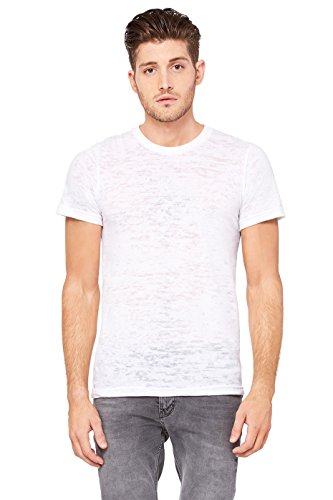(Bella 3601 Mens Burnout Short Sleeve Tee - White, Extra Large)
